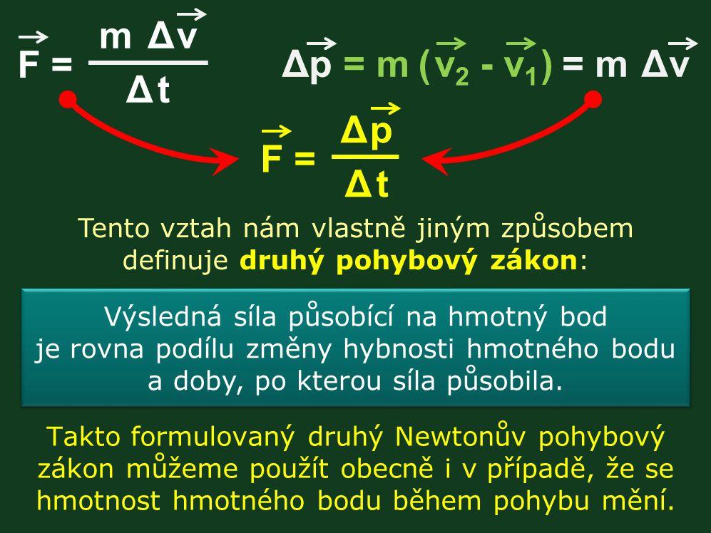 Takto formulovaný druhý Newtonův pohybový zákon můžeme použít obecně i v případě, že se hmotnost hmotného bodu během pohybu mění. Tento vztah nám vlas