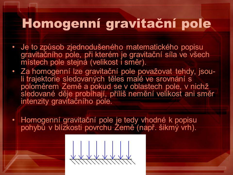 Homogenní gravitační pole Je to způsob zjednodušeného matematického popisu gravitačního pole, při kterém je gravitační síla ve všech místech pole stej