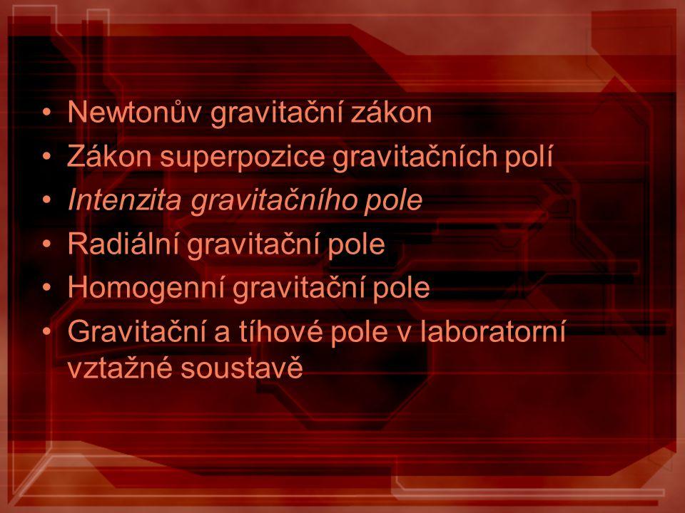 Newtonův gravitační zákon Zákon superpozice gravitačních polí Intenzita gravitačního pole Radiální gravitační pole Homogenní gravitační pole Gravitačn