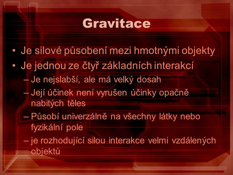 Gravitace Je silové působení mezi hmotnými objekty Je jednou ze čtyř základních interakcí –Je nejslabší, ale má velký dosah –Její účinek není vyrušen