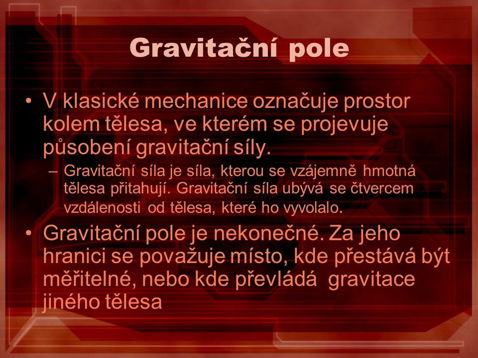 Newtonův gravitační zákon Hmotný bod o hmotnosti m 1 vytváří kulově souměrné gravitační pole, jež působí na jiný hmotný bod o hmotnosti m 2, který je ve vzdálenosti r, přitažlivou silou F g o velikosti: Kde ϰ je Newtonova gravitační konstanta.