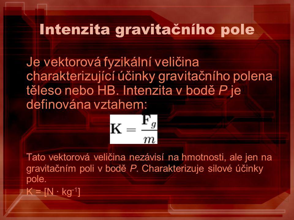 Intenzita gravitačního pole Je vektorová fyzikální veličina charakterizující účinky gravitačního polena těleso nebo HB. Intenzita v bodě P je definová