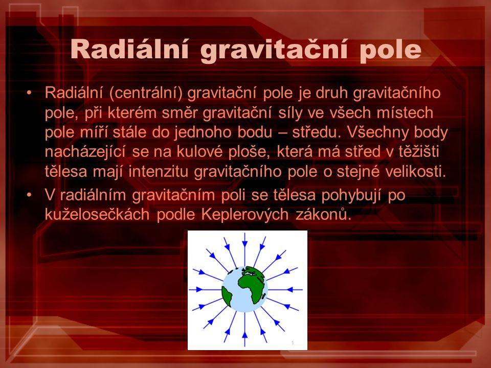 Radiální gravitační pole Radiální (centrální) gravitační pole je druh gravitačního pole, při kterém směr gravitační síly ve všech místech pole míří st