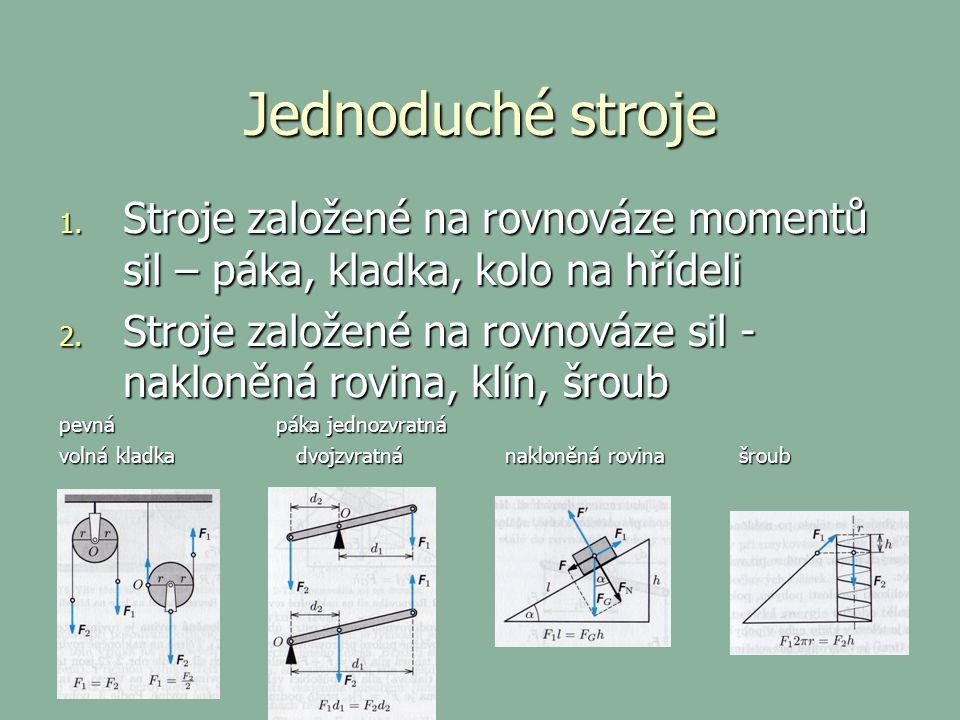 Jednoduché stroje 1. Stroje založené na rovnováze momentů sil – páka, kladka, kolo na hřídeli 2. Stroje založené na rovnováze sil - nakloněná rovina,