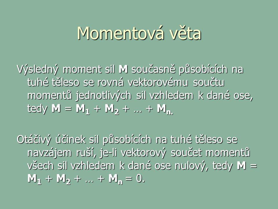 Momentová věta Výsledný moment sil M současně působících na tuhé těleso se rovná vektorovému součtu momentů jednotlivých sil vzhledem k dané ose, tedy