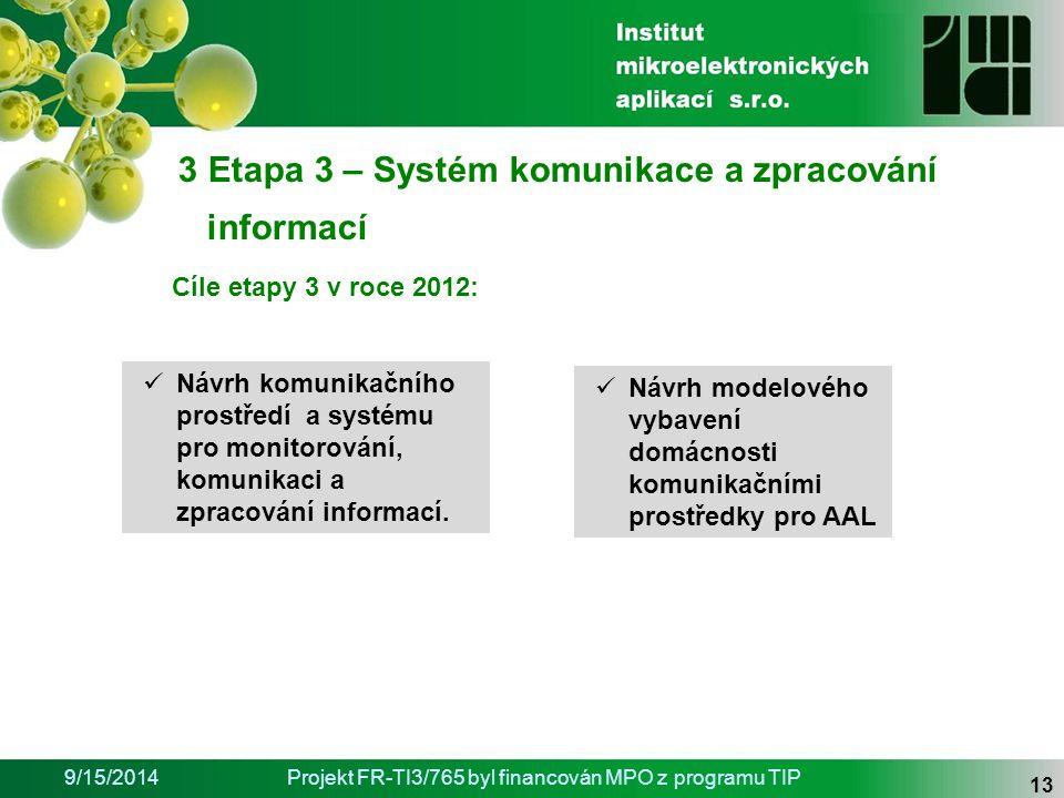 9/15/2014Projekt FR-TI3/765 byl financován MPO z programu TIP 13 Návrh modelového vybavení domácnosti komunikačními prostředky pro AAL 3 Etapa 3 – Systém komunikace a zpracování informací Návrh komunikačního prostředí a systému pro monitorování, komunikaci a zpracování informací.