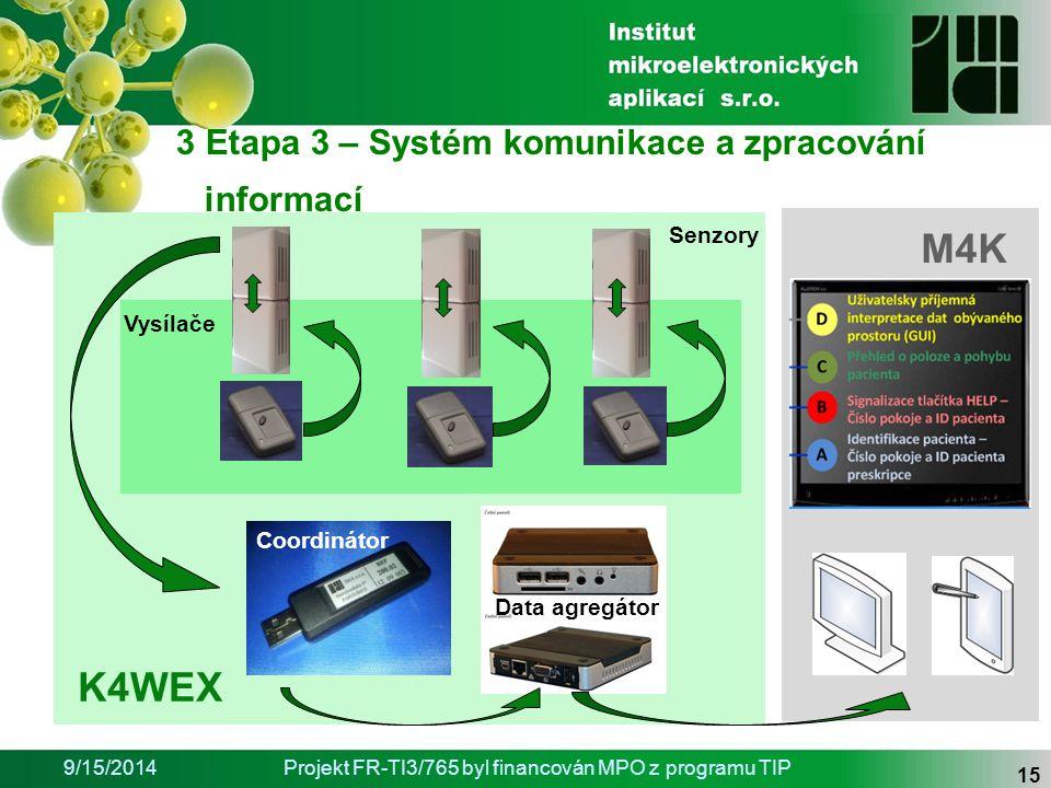 9/15/2014Projekt FR-TI3/765 byl financován MPO z programu TIP 15 Senzory Data agregátor Vysílače Coordinátor K4WEX M4K 3 Etapa 3 – Systém komunikace a zpracování informací