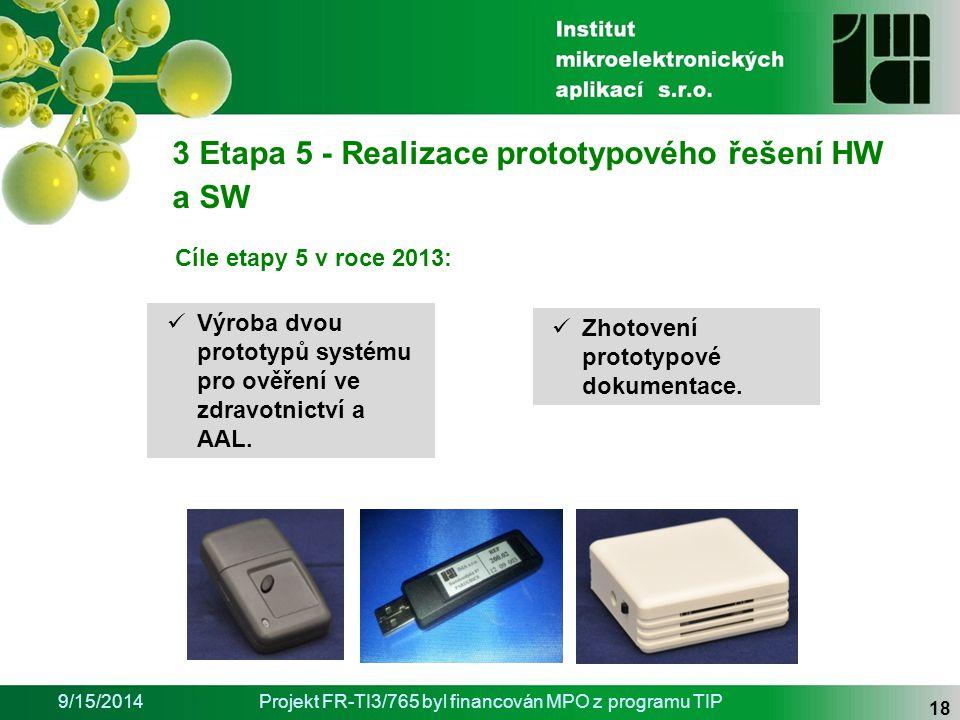 9/15/2014Projekt FR-TI3/765 byl financován MPO z programu TIP 18 3 Etapa 5 - Realizace prototypového řešení HW a SW Zhotovení prototypové dokumentace.