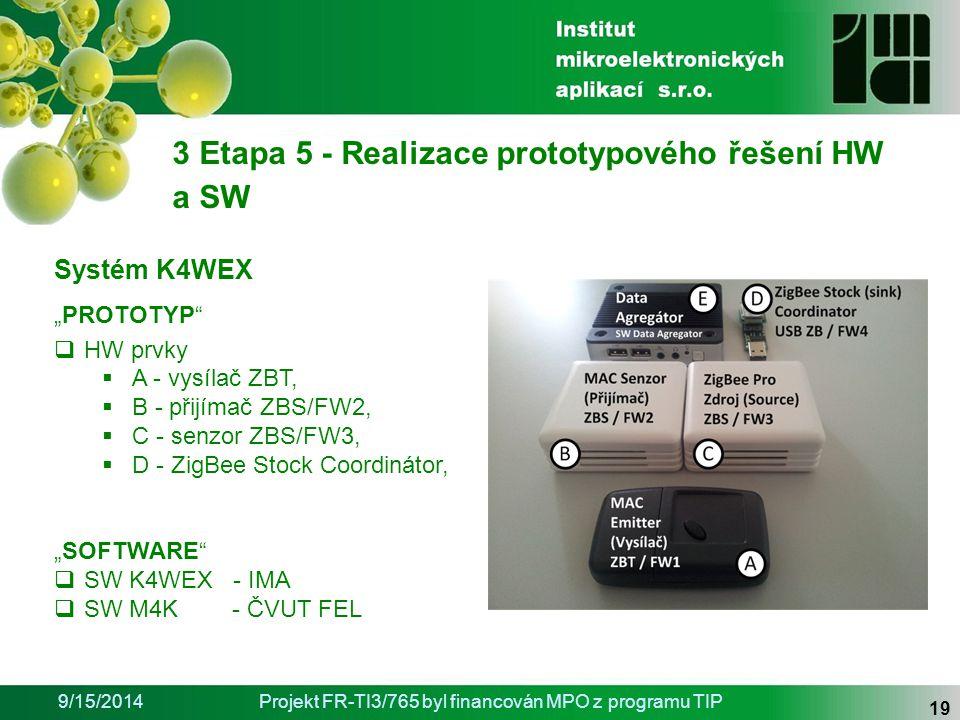 """9/15/2014Projekt FR-TI3/765 byl financován MPO z programu TIP 19 3 Etapa 5 - Realizace prototypového řešení HW a SW Systém K4WEX """"PROTOTYP  HW prvky  A - vysílač ZBT,  B - přijímač ZBS/FW2,  C - senzor ZBS/FW3,  D - ZigBee Stock Coordinátor, """"SOFTWARE  SW K4WEX - IMA  SW M4K - ČVUT FEL"""