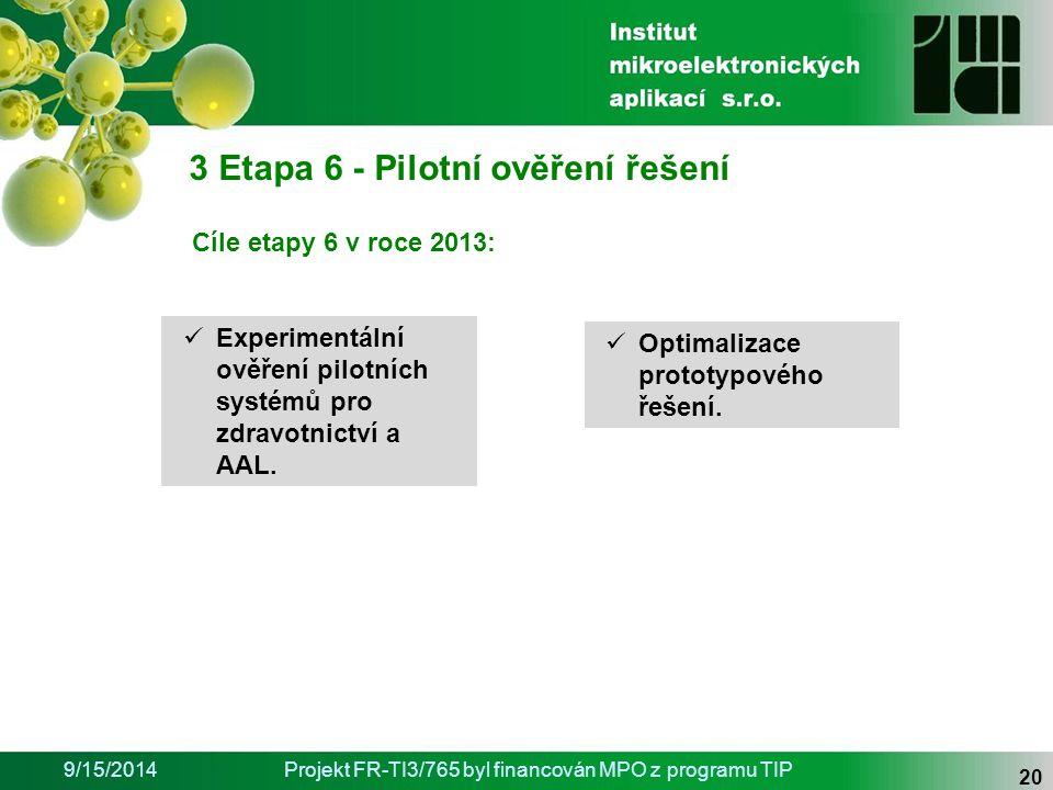 9/15/2014Projekt FR-TI3/765 byl financován MPO z programu TIP 20 3 Etapa 6 - Pilotní ověření řešení Optimalizace prototypového řešení.