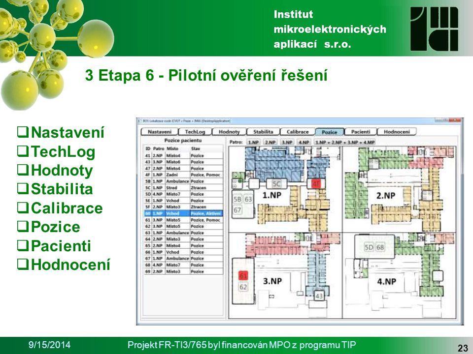 9/15/2014Projekt FR-TI3/765 byl financován MPO z programu TIP 23 3 Etapa 6 - Pilotní ověření řešení  Nastavení  TechLog  Hodnoty  Stabilita  Calibrace  Pozice  Pacienti  Hodnocení