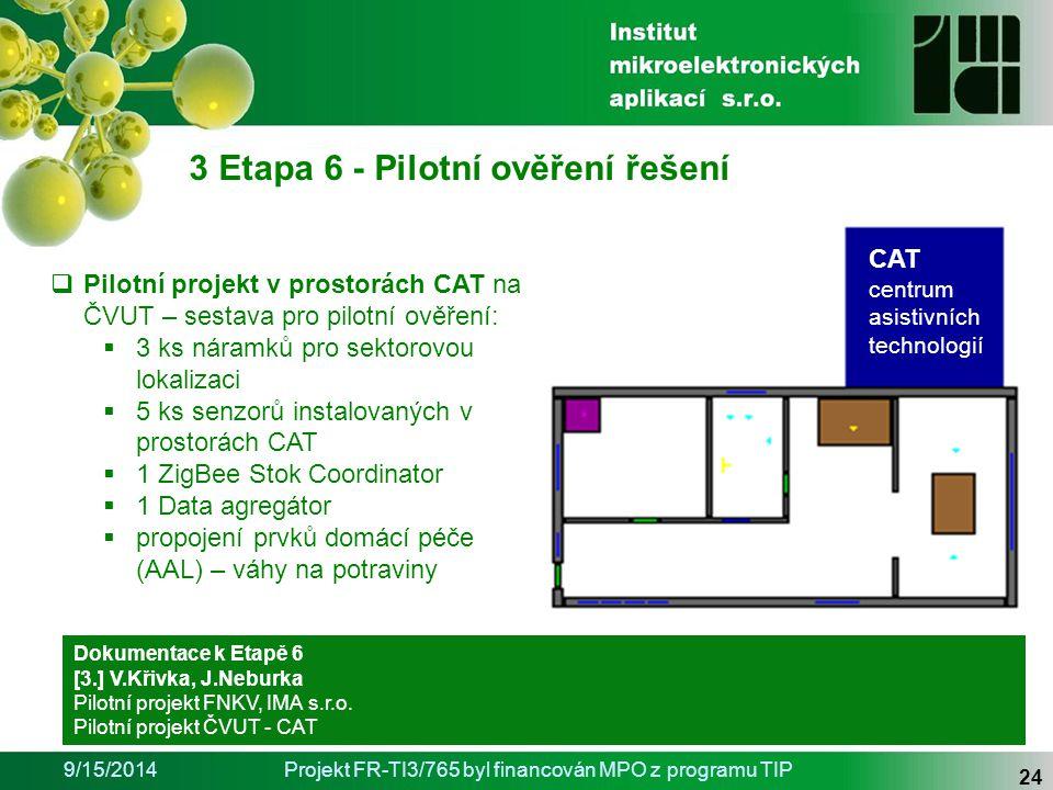 9/15/2014Projekt FR-TI3/765 byl financován MPO z programu TIP 24 3 Etapa 6 - Pilotní ověření řešení Dokumentace k Etapě 6 [3.] V.Křivka, J.Neburka Pilotní projekt FNKV, IMA s.r.o.