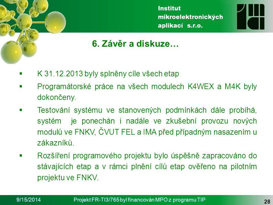 9/15/2014Projekt FR-TI3/765 byl financován MPO z programu TIP 28 6.
