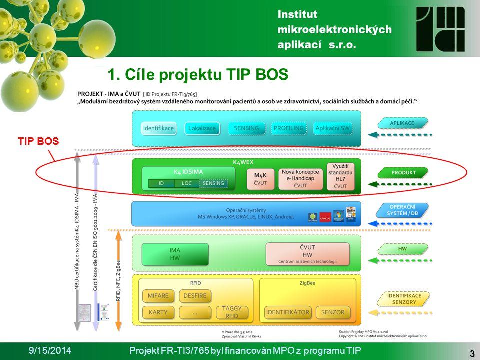 9/15/2014Projekt FR-TI3/765 byl financován MPO z programu TIP 3 TIP BOS 1. Cíle projektu TIP BOS