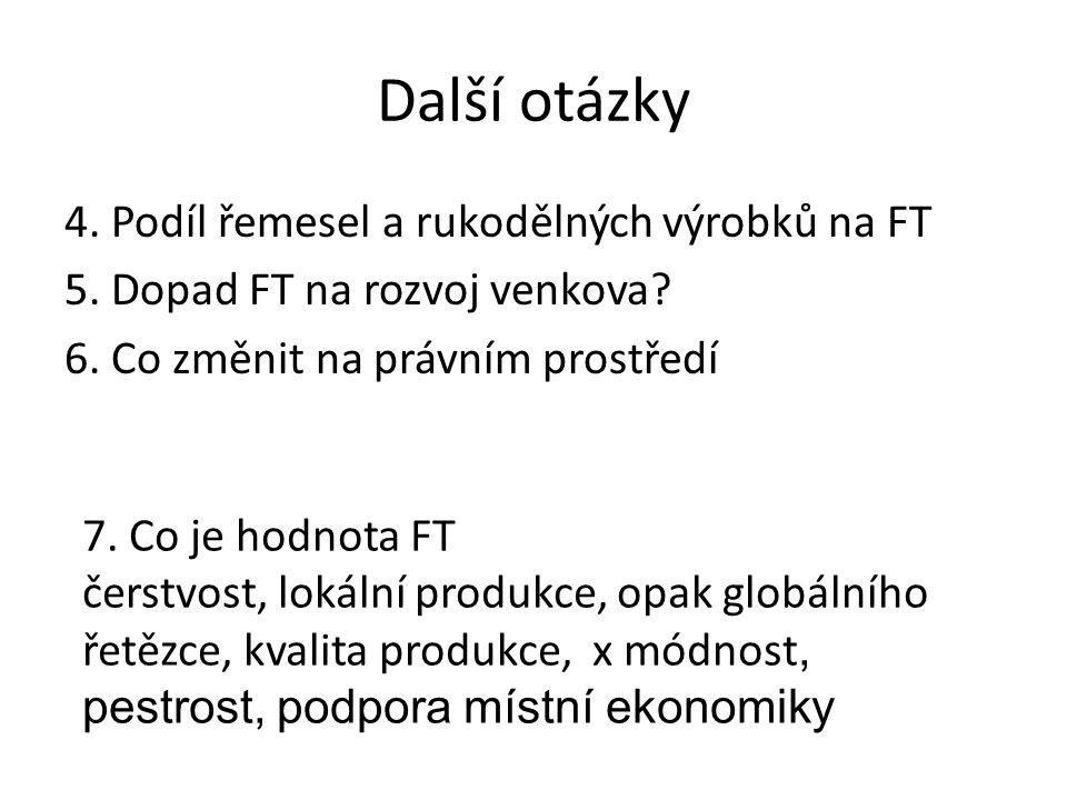 Další otázky 4. Podíl řemesel a rukodělných výrobků na FT 5.