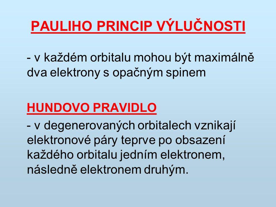 PAULIHO PRINCIP VÝLUČNOSTI - v každém orbitalu mohou být maximálně dva elektrony s opačným spinem HUNDOVO PRAVIDLO - v degenerovaných orbitalech vznik