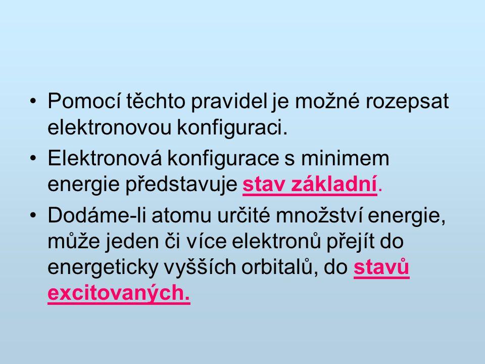 Pomocí těchto pravidel je možné rozepsat elektronovou konfiguraci. Elektronová konfigurace s minimem energie představuje stav základní. Dodáme-li atom
