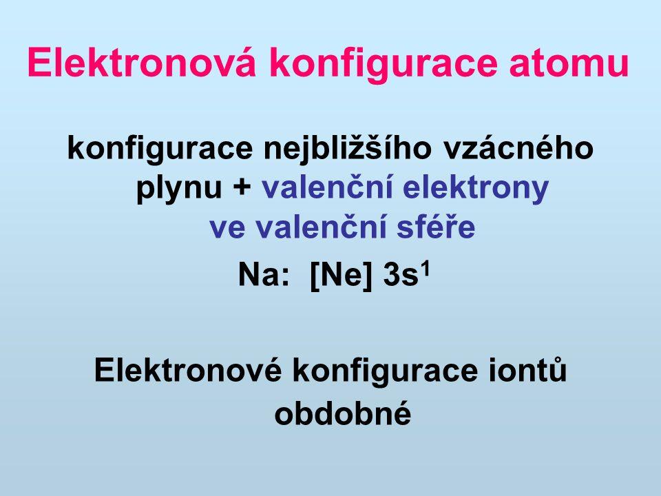 Elektronová konfigurace atomu konfigurace nejbližšího vzácného plynu + valenční elektrony ve valenční sféře Na: [Ne] 3s 1 Elektronové konfigurace iont