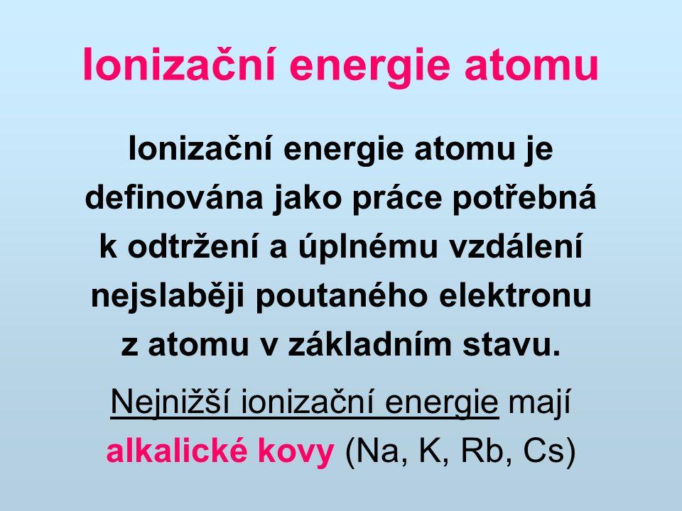 Ionizační energie atomu Ionizační energie atomu je definována jako práce potřebná k odtržení a úplnému vzdálení nejslaběji poutaného elektronu z atomu