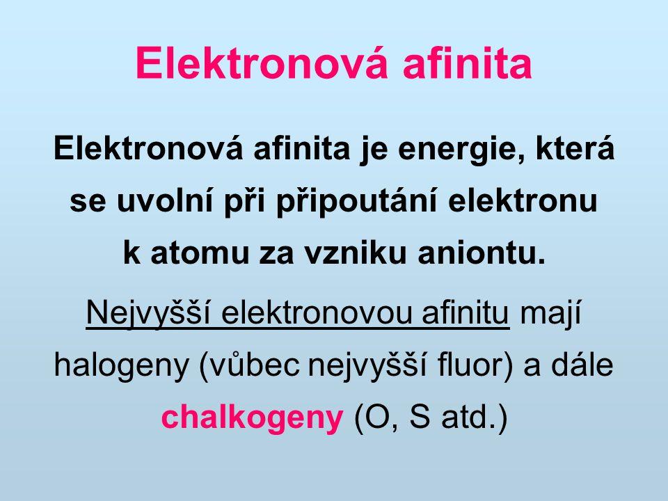 Elektronová afinita je energie, která se uvolní při připoutání elektronu k atomu za vzniku aniontu. Nejvyšší elektronovou afinitu mají halogeny (vůbec