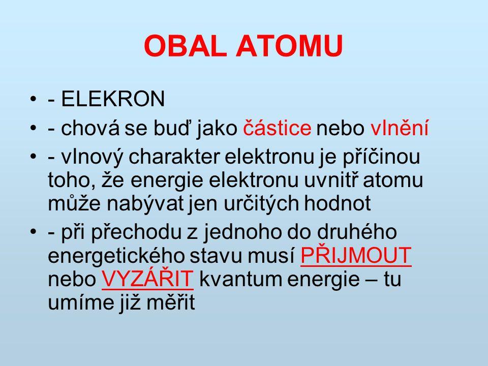 OBAL ATOMU - ELEKRON - chová se buď jako částice nebo vlnění - vlnový charakter elektronu je příčinou toho, že energie elektronu uvnitř atomu může nab
