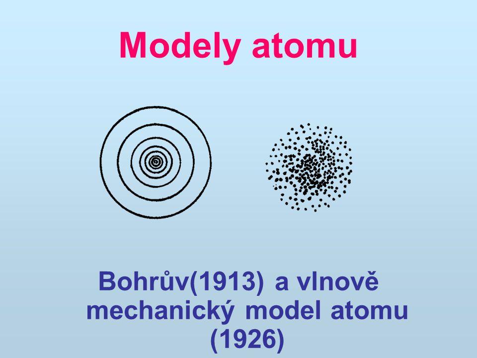 Modely atomu Bohrův(1913) a vlnově mechanický model atomu (1926)
