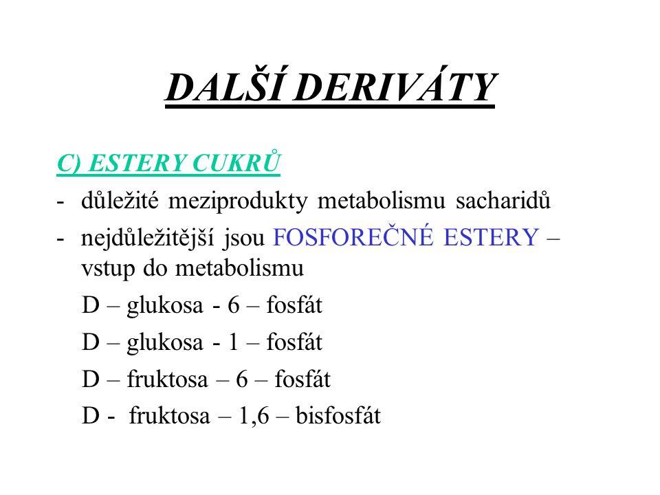 DALŠÍ DERIVÁTY C) ESTERY CUKRŮ -důležité meziprodukty metabolismu sacharidů -nejdůležitější jsou FOSFOREČNÉ ESTERY – vstup do metabolismu D – glukosa - 6 – fosfát D – glukosa - 1 – fosfát D – fruktosa – 6 – fosfát D - fruktosa – 1,6 – bisfosfát