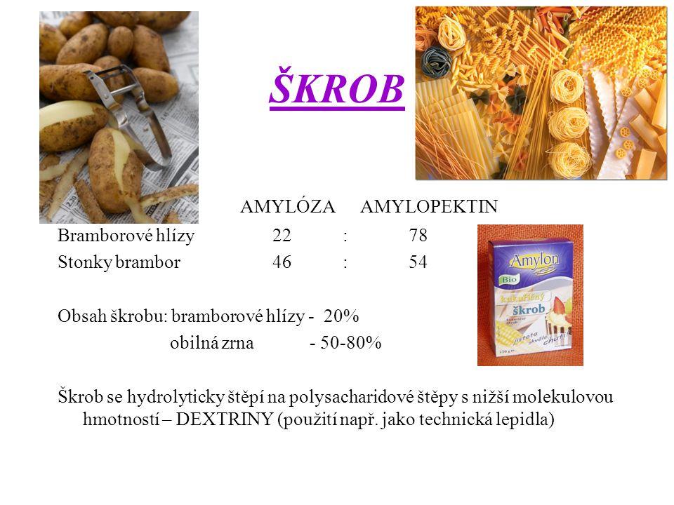 ŠKROB AMYLÓZA AMYLOPEKTIN Bramborové hlízy 22 : 78 Stonky brambor 46 : 54 Obsah škrobu: bramborové hlízy - 20% obilná zrna - 50-80% Škrob se hydrolyticky štěpí na polysacharidové štěpy s nižší molekulovou hmotností – DEXTRINY (použití např.