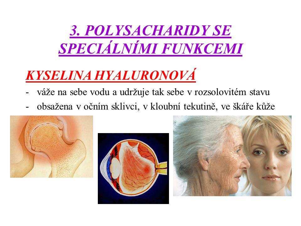 3. POLYSACHARIDY SE SPECIÁLNÍMI FUNKCEMI KYSELINA HYALURONOVÁ -váže na sebe vodu a udržuje tak sebe v rozsolovitém stavu -obsažena v očním sklivci, v