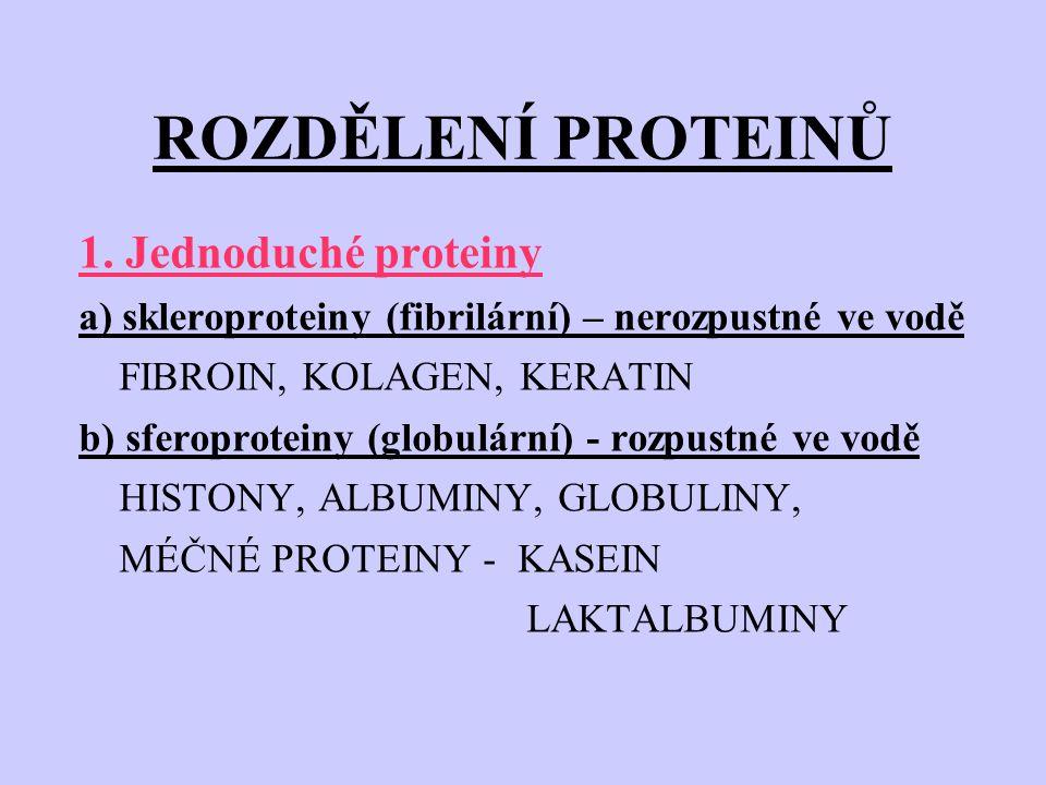 ROZDĚLENÍ PROTEINŮ 1. Jednoduché proteiny a) skleroproteiny (fibrilární) – nerozpustné ve vodě FIBROIN, KOLAGEN, KERATIN b) sferoproteiny (globulární)
