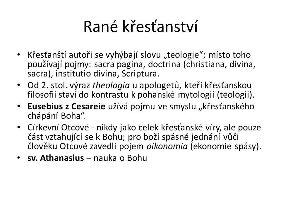 """Rané křesťanství Křesťanští autoři se vyhýbají slovu """"teologie""""; místo toho používají pojmy: sacra pagina, doctrina (christiana, divina, sacra), insti"""