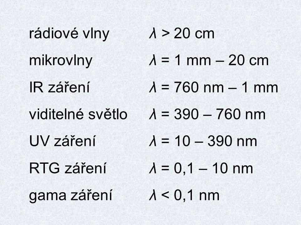 rádiové vlnyλ > 20 cm mikrovlnyλ = 1 mm – 20 cm IR zářeníλ = 760 nm – 1 mm viditelné světloλ = 390 – 760 nm UV zářeníλ = 10 – 390 nm RTG záření λ = 0,