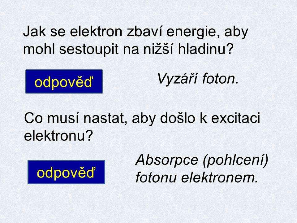 Jak se elektron zbaví energie, aby mohl sestoupit na nižší hladinu? odpověď Vyzáří foton. Co musí nastat, aby došlo k excitaci elektronu? odpověď Abso