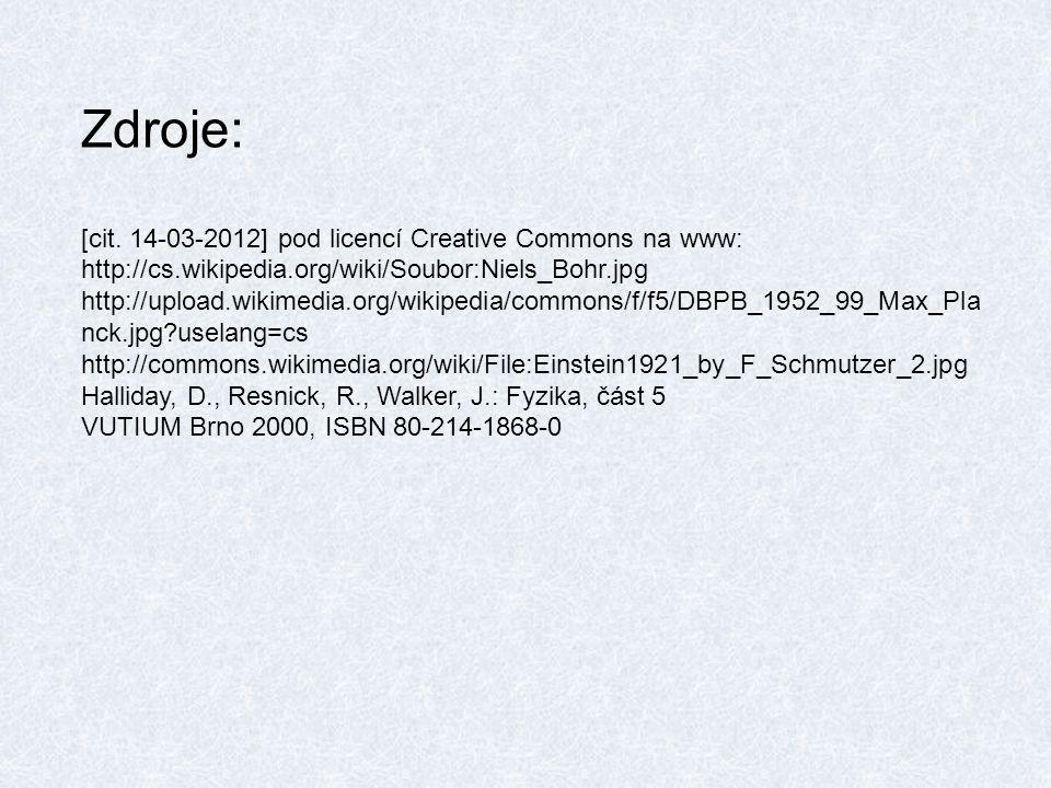 Zdroje: [cit. 14-03-2012] pod licencí Creative Commons na www: http://cs.wikipedia.org/wiki/Soubor:Niels_Bohr.jpg http://upload.wikimedia.org/wikipedi
