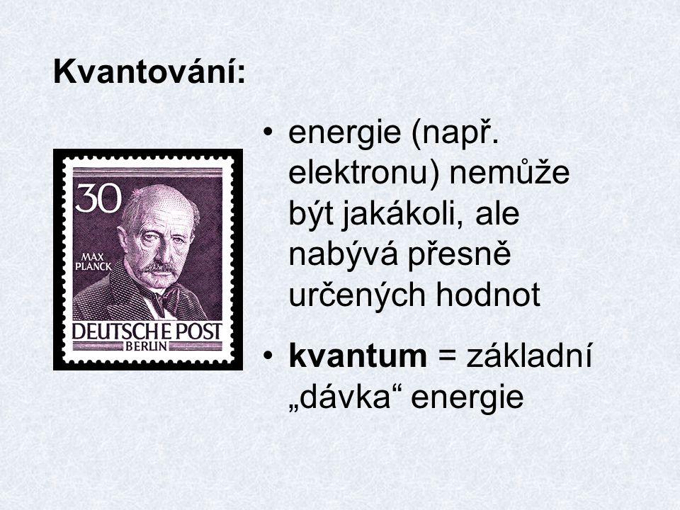 """Kvantování: energie (např. elektronu) nemůže být jakákoli, ale nabývá přesně určených hodnot kvantum = základní """"dávka"""" energie"""