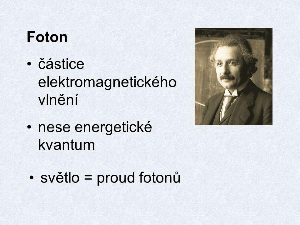 Foton částice elektromagnetického vlnění nese energetické kvantum světlo = proud fotonů
