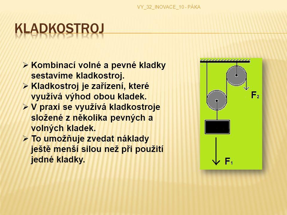 VY_32_INOVACE_10 - PÁKA  Kombinací volné a pevné kladky sestavíme kladkostroj.