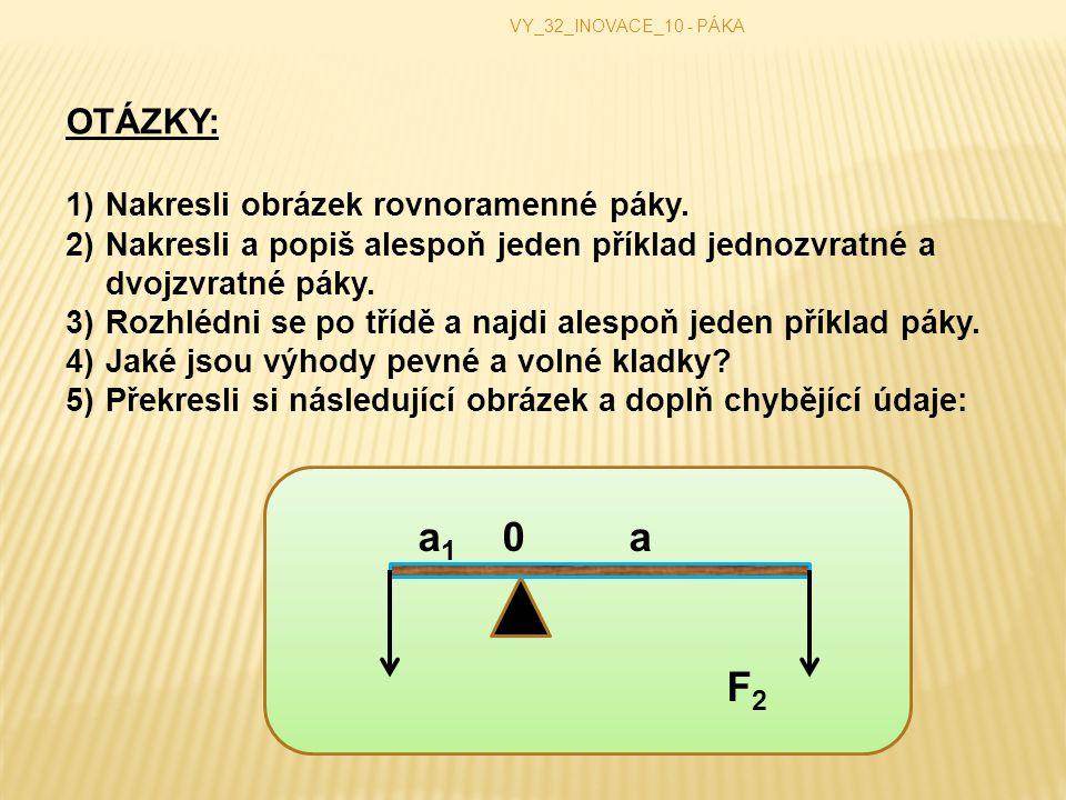 VY_32_INOVACE_10 - PÁKA OTÁZKY: 1)Nakresli obrázek rovnoramenné páky.