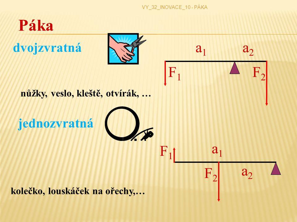 jednozvratná VY_32_INOVACE_10 - PÁKA Páka dvojzvratná a1a1 a2a2 F1F1 F2F2 a1a1 a2a2 F1F1 F2F2 nůžky, veslo, kleště, otvírák, … kolečko, louskáček na ořechy,…
