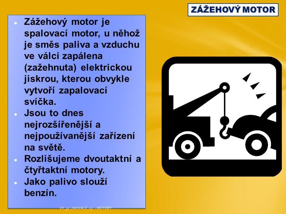 ZÁŽEHOVÝ MOTOR Čtyřtakt: 1 – SÁNÍ: V první fázi jde píst dolů, vzniká podtlak, který nasává hořlavou směs (benzin se vzduchem).
