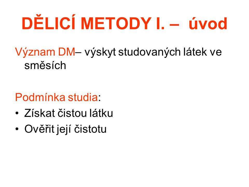 DĚLICÍ METODY I. – úvod Význam DM– výskyt studovaných látek ve směsích Podmínka studia: Získat čistou látku Ověřit její čistotu