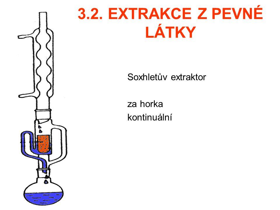 3.2. EXTRAKCE Z PEVNÉ LÁTKY Soxhletův extraktor za horka kontinuální