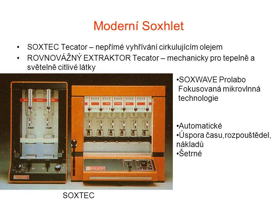 Moderní Soxhlet SOXTEC Tecator – nepřímé vyhřívání cirkulujícím olejem ROVNOVÁŽNÝ EXTRAKTOR Tecator – mechanicky pro tepelně a světelně citlivé látky