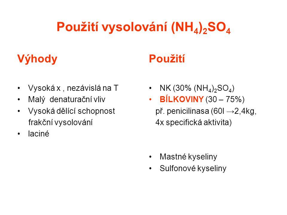 Použití vysolování (NH 4 ) 2 SO 4 Výhody Vysoká x, nezávislá na T Malý denaturační vliv Vysoká dělící schopnost frakční vysolování laciné Použití NK (