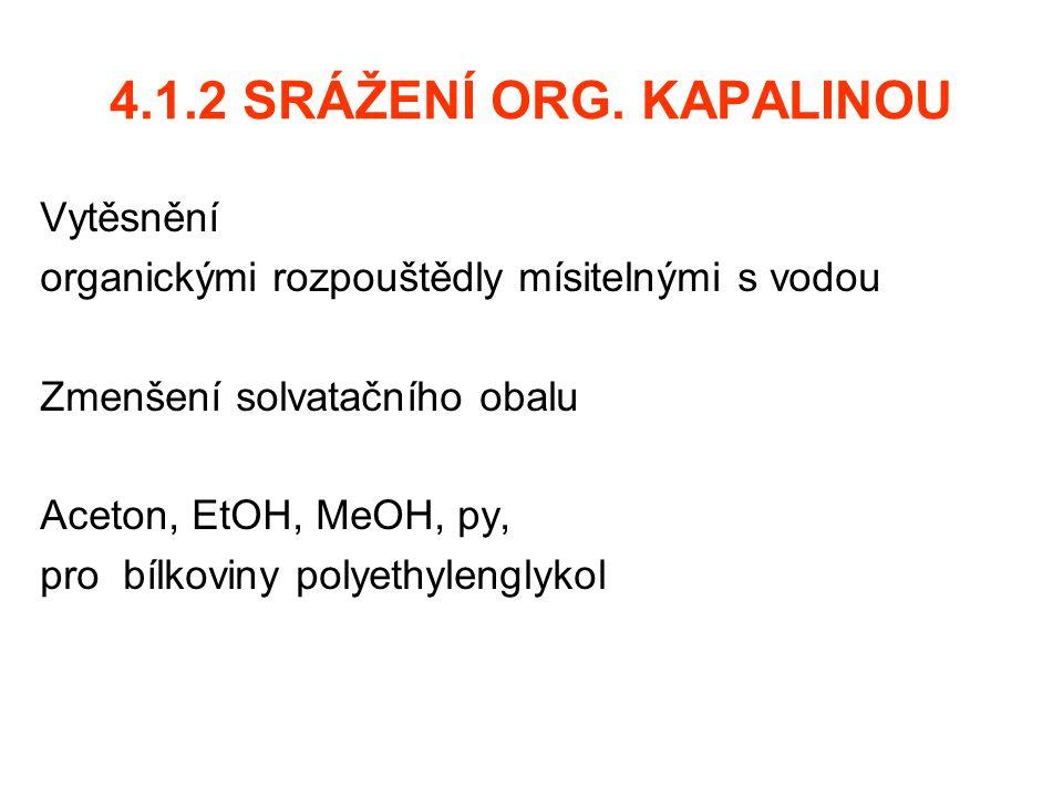 4.1.2 SRÁŽENÍ ORG. KAPALINOU Vytěsnění organickými rozpouštědly mísitelnými s vodou Zmenšení solvatačního obalu Aceton, EtOH, MeOH, py, pro bílkoviny