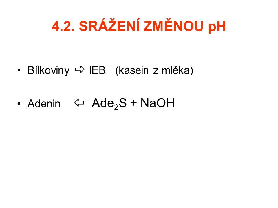 4.2. SRÁŽENÍ ZMĚNOU pH Bílkoviny  IEB (kasein z mléka) Adenin  Ade 2 S + NaOH