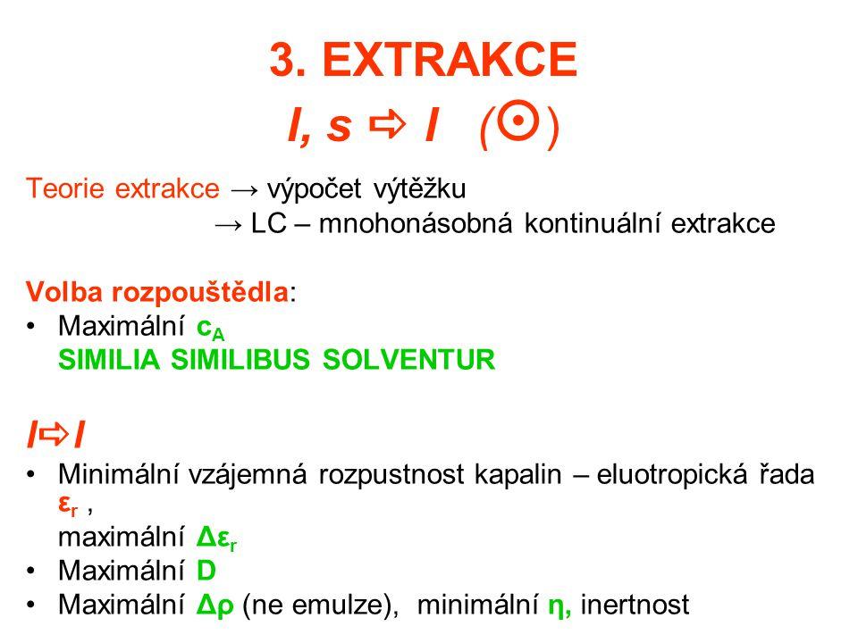 3. EXTRAKCE l, s  l (  ) Teorie extrakce → výpočet výtěžku → LC – mnohonásobná kontinuální extrakce Volba rozpouštědla: Maximální c A SIMILIA SIMILI