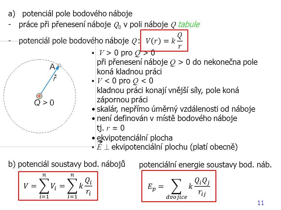 11 a)potenciál pole bodového náboje -práce při přenesení náboje Q 0 v poli náboje Q tabule -potenciál pole bodového náboje Q : b) potenciál soustavy bod.