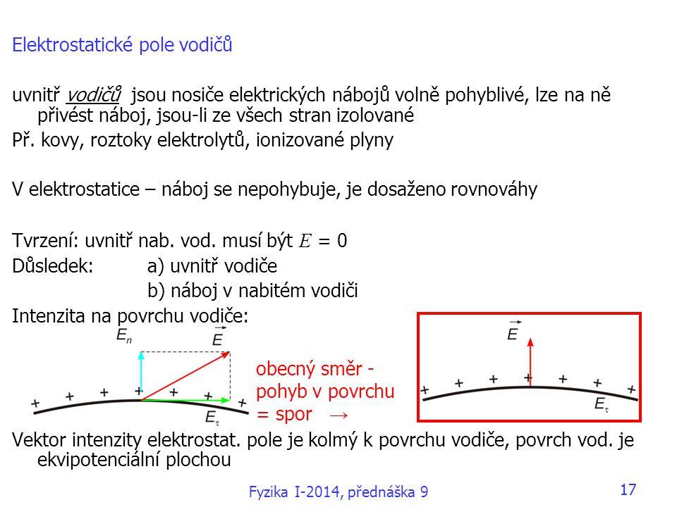 Elektrostatické pole vodičů uvnitř vodičů jsou nosiče elektrických nábojů volně pohyblivé, lze na ně přivést náboj, jsou-li ze všech stran izolované P