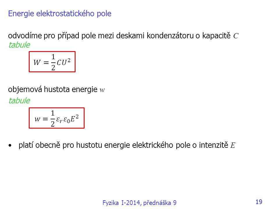 19 Energie elektrostatického pole odvodíme pro případ pole mezi deskami kondenzátoru o kapacitě C tabule objemová hustota energie w tabule platí obecně pro hustotu energie elektrického pole o intenzitě E Fyzika I-2014, přednáška 9 19